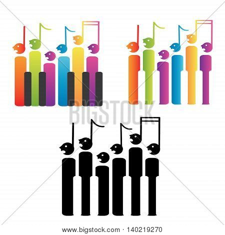 Choir of notes and piano keys, vector image