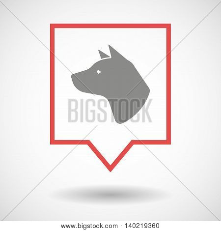 Isolated Line Art Tooltip Icon With  A Dog Head