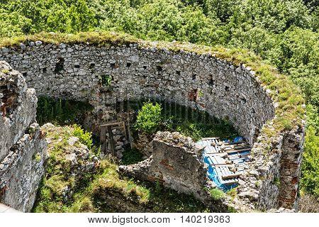 Ruins of Plavecky castle Slovak republic. Travel destination. Ancient architecture.