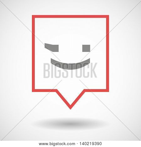 Isolated Line Art Tooltip Icon With  A Wink Text Face Emoticon