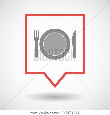 Isolated Line Art Tooltip Icon With  A Dish, Knife And A Fork Icon