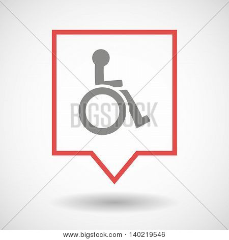 Isolated Line Art Tooltip Icon With  A Human Figure In A Wheelchair Icon