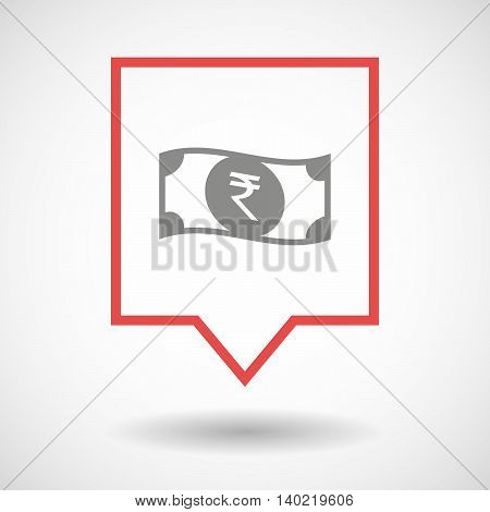 Isolated Line Art Tooltip Icon With  A Rupee Bank Note Icon