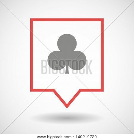 Isolated Line Art Tooltip Icon With  The  Club  Poker Playing Card Sign