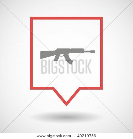Isolated Line Art Tooltip Icon With  A Machine Gun Sign