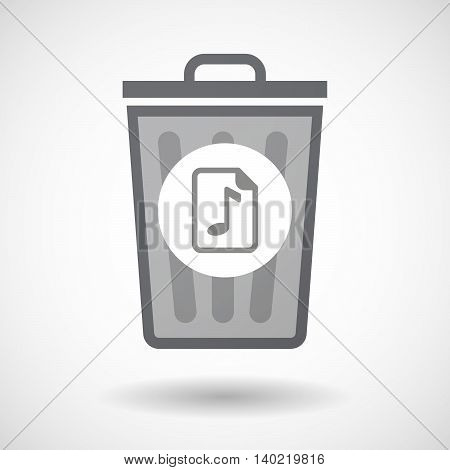 Isolated Trash Can Icon With  A Music Score Icon
