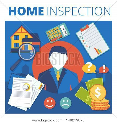 Home inspection vector concept design. Real estate appraisal service business illustration