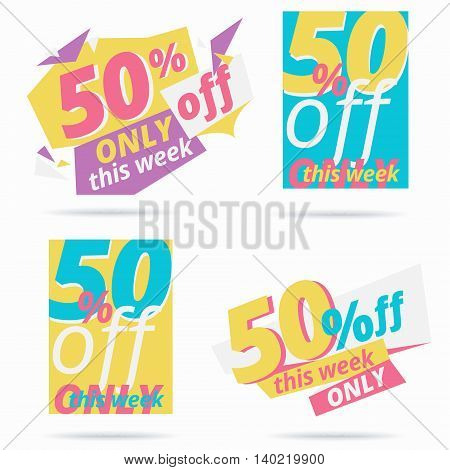 Sale event vector banner design. Special offer clearance and discount label concept