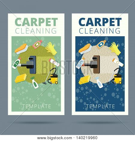 Carpet cleaning service vector illustration. Business card concept design. Housework tools and sanitizing moistures