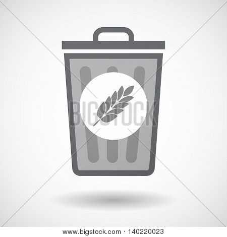 Isolated Trash Can Icon With  A Wheat Plant Icon