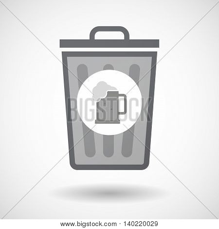 Isolated Trash Can Icon With  A Beer Jar Icon