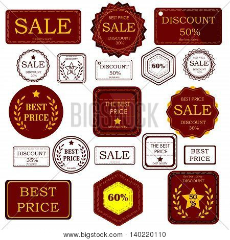 Set badges and stickers for sale of goods in the boutiques shops for discount cards or advertising