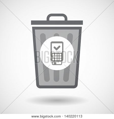 Isolated Trash Can Icon With  A Dataphone Icon