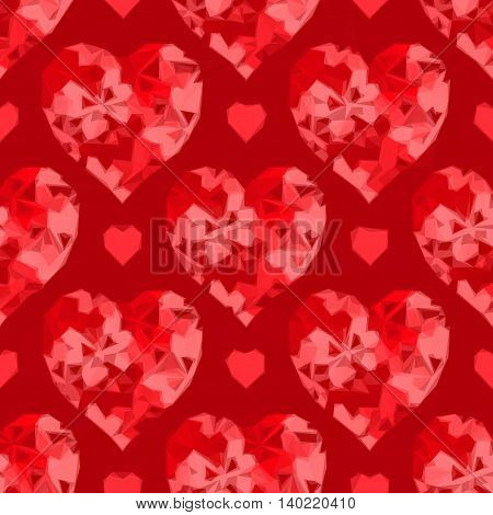 Valentine Holiday Background with Red Hearts, Low Poly Abstract Pattern, Colorful Polygonal Background. Vector