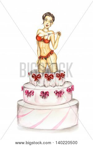 Stripper out of cake. Isolated watercolor sexy curvaceous stripper go out of celebration cake. isolated on white