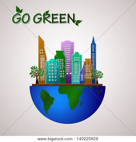 Go green design template. Environment vector illustration. Eco planet concept