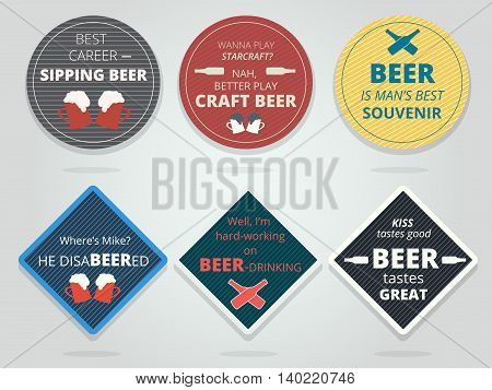 Set of colored round and square ready beer coasters and mats with slogans and phrases. Motivation bierdeckels design