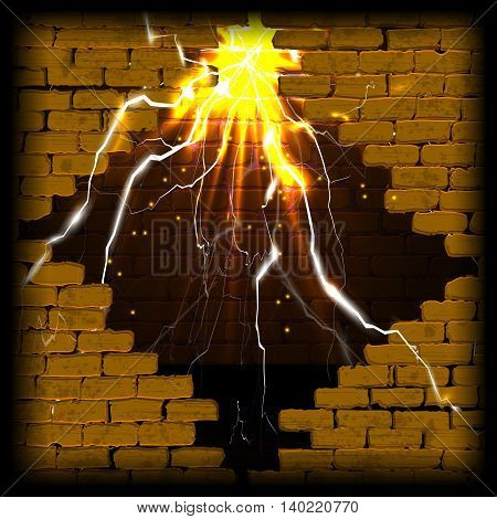 Old brick wall with rift and flash with lightning and sparks. You can use any text or image on a black background.