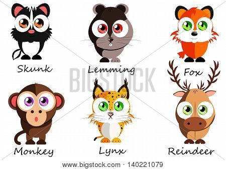 Wild. Set cute animals for use as stickers images in books lessons games and other projects for kids