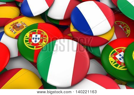 Italy, France, Spain And Portugal Flag Badge Pile Background 3D Illustration