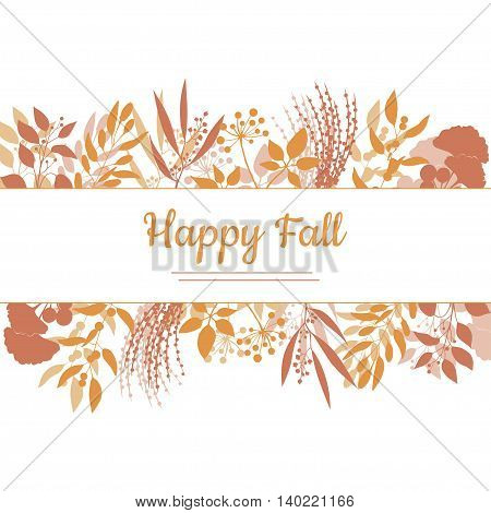 Flat design style Happy Fall card template. Vector colorful frame banner, flyer isolated on white