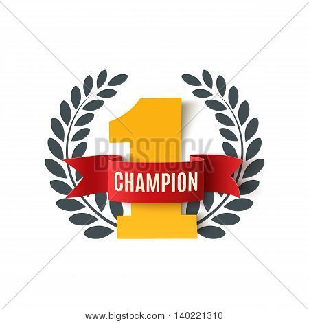 Champion, number one background with red ribbon and olive branch on white. Poster or brochure template. Vector illustration.