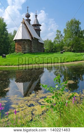 KOSTROMA RUSSIA - JULY 20 2016: Kostroma Architectural-Ethnographic and Landscape Museum-Reserve Kostromskaya Sloboda. Church of Savior from village Fominskoe of Kostroma region
