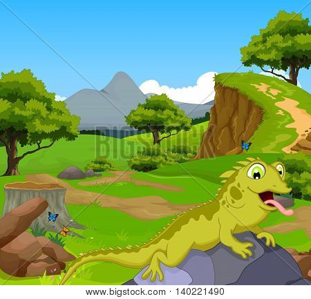 funny chameleon cartoon in the jungle with landscape background