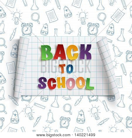 Back to school curved paper banner, on background with hand drawn school tools. Vector illustration.