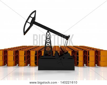 The concept of energy resources. Gold oil tower on a white background