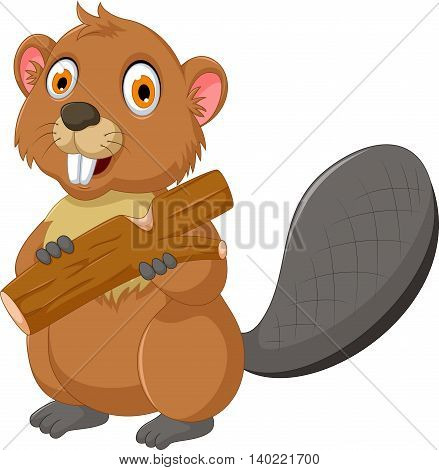 funny beaver cartoon eating wood for you design