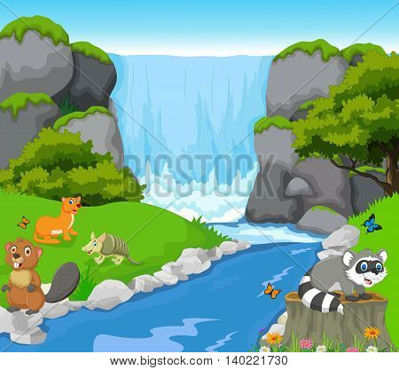 funny animal cartoon with waterfall landscape background