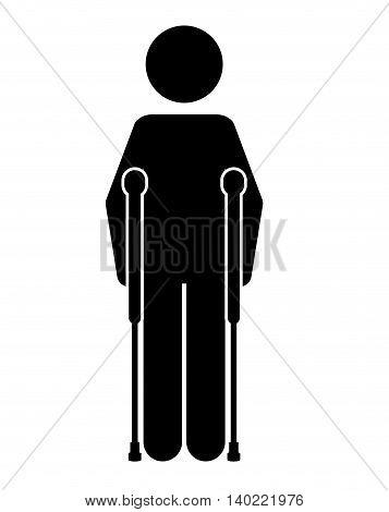 crutches person  isolated icon design, vector illustration  graphic