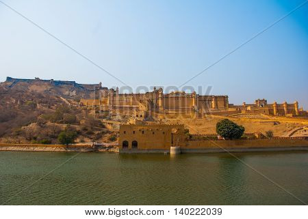 Amber Fort On A Background Of The Pond. Jaipur. India.