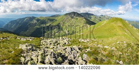 Grassy Ridge Of Amazing Summer Mountains