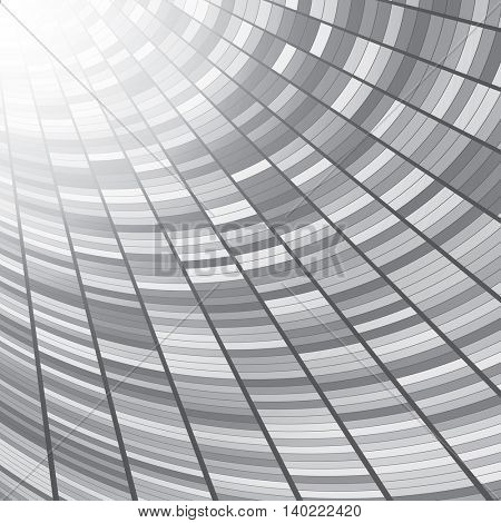 Abstract perspective tunnel background. Vector illustration. Gray rectangles.