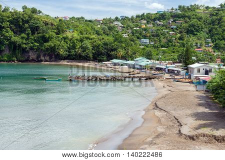 fishing village on the shore of the Caribbean Sea, island St. Lucia