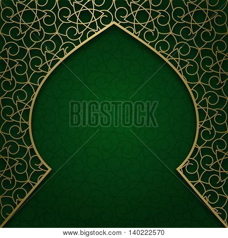 Traditional ornamental background with arched patterned frame