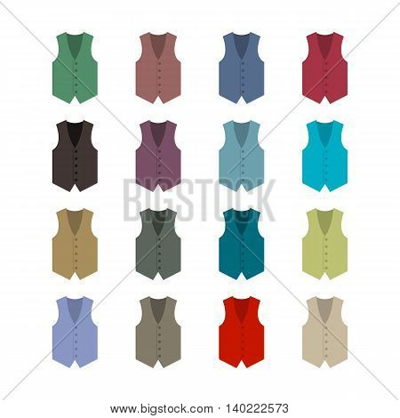 Set of sixteen colored waistcoats in a flat style isolated on white background design element outerwear and the subject of a businessman wardrobe vector illustration.