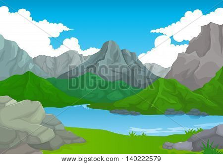 beauty mountain cartoon with lake landscape background