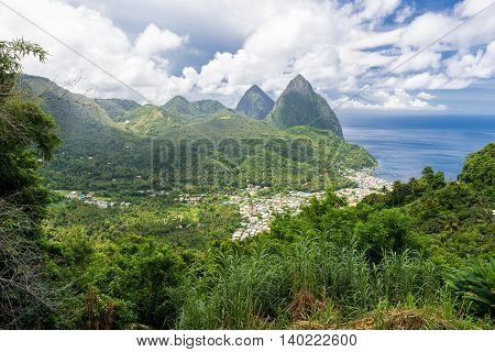 landscape of the famous Pitons mountain in St Lucia Caribbean