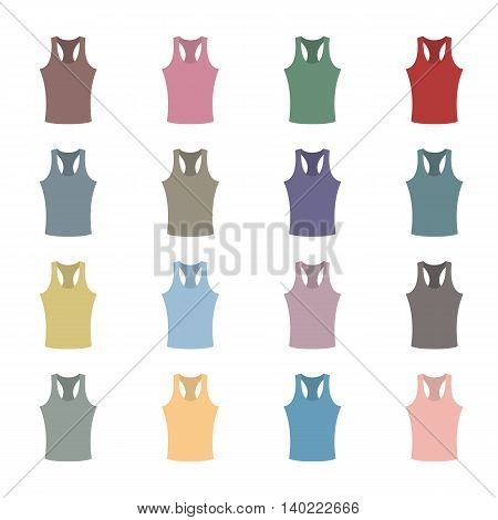 Set of sixteen in a flat style color tank top isolated on white background design element outerwear and article of clothing second set vector illustration.