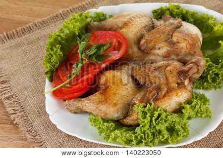 Chicken fried with vegetables traditional home cooked rustic meal