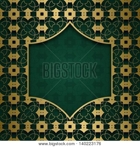 Traditional ornamental background with arabic patterned frame