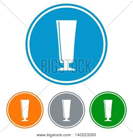 Flat flute glass for beer icons set vector
