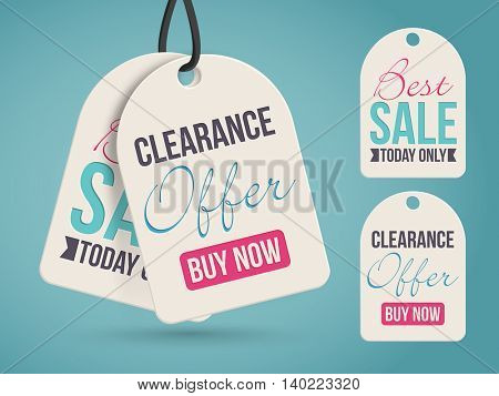 Creative Tag or Labels design of Sale and Discount on shiny sky blue background.