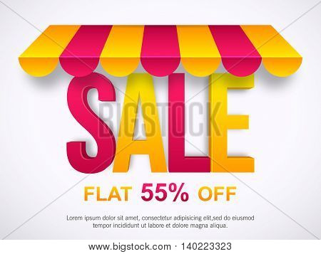 Sale with Flat 55% Off, Glossy typographical background, Creative Poster, Banner or Flyer design, Vector illustration.