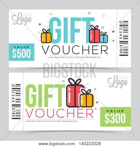 Creative Modern Gift Voucher, Coupon or Certificate design with free space, Vector illustration.