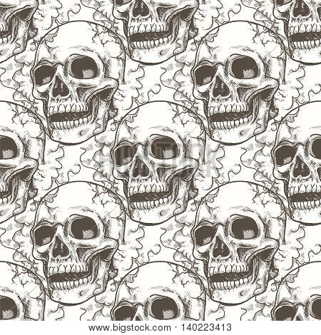 Seamless pattern with hand drawn skull and smoke. Vector illustration