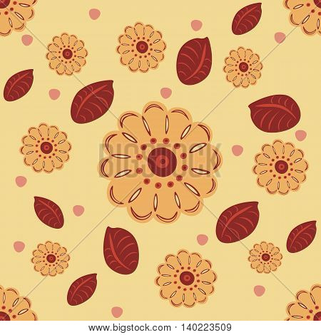 A seamless pattern with flowers and leaves in creamy colors